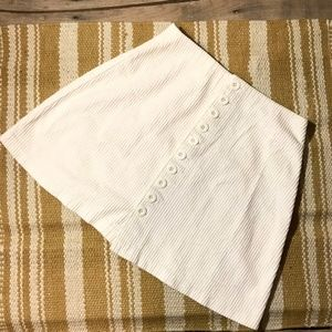 Vintage Express white corduroy front button skirt